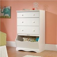 Stylish 3-Drawer Chest Bedroom Furniture Soft White Finish With Open Storage Bin
