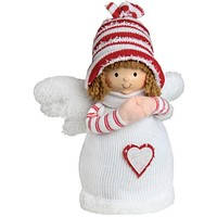 """10.5"""" White and Red Angel Boy with Heart Inspirational Christmas Tabletop Decoration"""