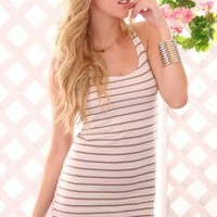WHITE TAUPE STRIPE PRINT SCOOP NECK KNOTTED RACER BACK DRESS @ Amiclubwear sexy dresses,sexy dress,prom dress,summer dress,spring dress,prom gowns,teens dresses,sexy party wear,women's cocktail dresses,ball dresses,sun dresses,trendy dresses,sweater dress