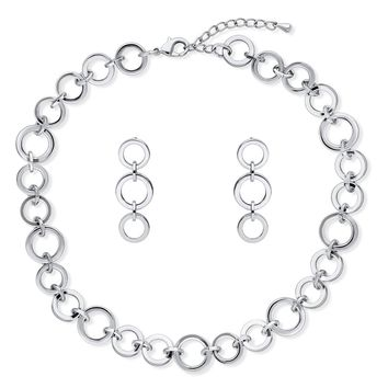 Silver-Tone Open Circle Necklace and Earrings SetBe the first to write a reviewSKU# vs520-01