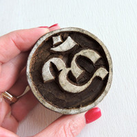 Om Stamp: Crown Chakra, Plain Hand Carved Wood Printing Block, Wooden Ohm Ahm Indian Stamp, Textile Pottery Stamp, Yoga Meditation, Hindu
