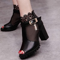 Women Black Sandals Leather  Woman Thick Heel High Heels Sandals Open Toe Sandals With Lace Women's Black Shoes