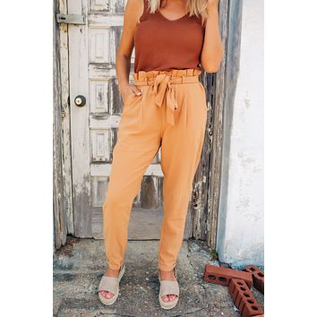 Paper Bag Waist Pants  - Camel