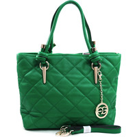 Women's Sophisticated Quilted Tote Bag w/ Gold Accents & Bonus Strap - Green Color: Green