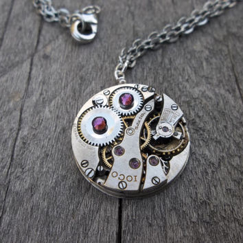 Clockpunk Steampunk Watch Movement Pendant Necklace, Stainless Steel Watch Movement with Swarovski Crystals on Silver Cable Link Chain