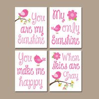 You Are My Sunshine Bird Birdie Navy Blue Pink Flower Wall Art Girl Artwork Nursery Rhyme Quote Baby Song Set of 4 Prints Baby Crib Decor