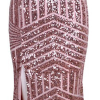 Adrianna Geometric Sequin Long Dress - Pastel Pink