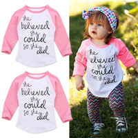 Fashion Toddler Kids Baby Girls Tees Long Sleeve T-shirt Tops Clothes Size 1-6T
