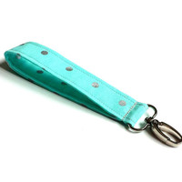 Turquoise with Silver Polka Dots Fabric Wristlet Womens Fashion Accessories Fabric Keychain Turquoise Key Fob Gift Idea