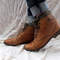 Vintage Brown Lace Up Roper Boots Ankle High Wool Lined Leather