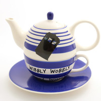 Doctor Who Teapot , Tardis , tea for one , wibbly wobbley timey wimey , gift for whovian , tea drinker , personal teapot , upcycled