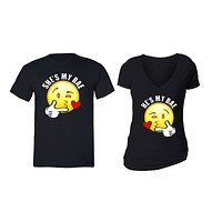 XtraFly Apparel Emoji Bae Heart Valentine's Matching Couples Short Sleeve T-shirt
