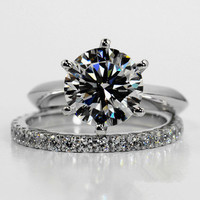 18k white gold plated 2carat sona Simulated diamond wedding ring sets for women,silver 925 ring sets, promise ring set