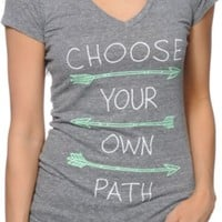 Empyre Choose Your Own Path Grey V-Neck T-Shirt