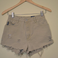 Khaki Distressed HIGH-WAISTED Shorts