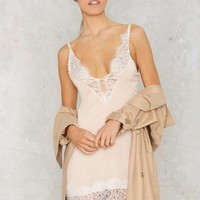 Peaches and Cream Lace Slip Dress