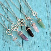 Colorful Natural Stone Hexagonal Pendant Necklace Sweater Chain for Women