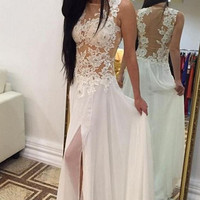 White Lace Prom Dress Prom Backless Lace Evening Dresses