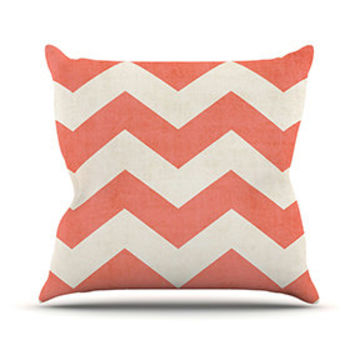 """Ann Barnes """"Vintage Coral"""" Outdoor Throw Pillow - Great Hostess Gift - Matches Outdoor Rugs!"""