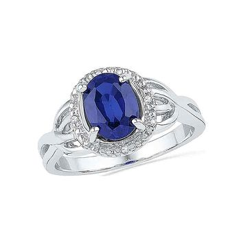 10k White Gold Oval Created Blue Sapphire Solitaire Diamond Ring .02 Cttw