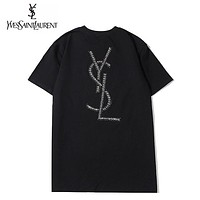 YSL Fashion new diamond letter couple top t-shirt Black