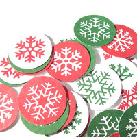 Red And Green Snowflake Stickers Set of 22 Christmas Winter