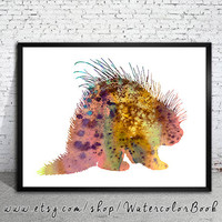 Porcupine Watercolor Print, watercolor painting, watercolor art, Illustration,  home decor, porcupine art, watercolor animal,