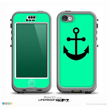The Trendy Green & Solid Black Anchor Silhouette Skin for the iPhone 5c nüüd LifeProof Case