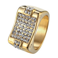 Iced Out Mens Pinky Ring Wedding Engagement Stainless Steel 14k Gold Finish