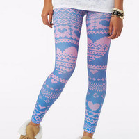 Navy And Pink Heart Legging