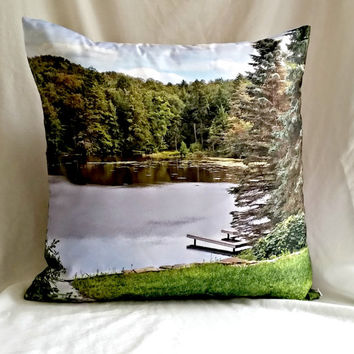 Blue Green Pillow cover, Fine Art Photography accent pillow cover, Natural home decor