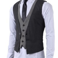 H2H Mens Fashion Business Suit Layered Vest With Chain Rings CHARCOAL US L/Asia XL (CMOV01)
