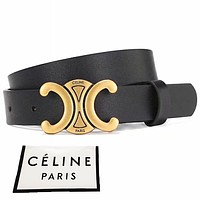 CELINE  Fashion Women Men Metal Bluck Belt Black