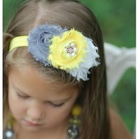 Gray and yellow headband | From Bows To Toes