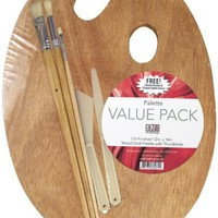 Art Advantage Wood Palette Value-Pack With Free Brushes and Knives