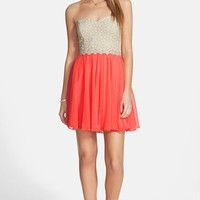 Junior Women's Way-In Colorblock Lace Bodice Strapless Skater Dress