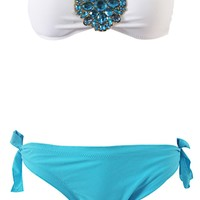 Womens Halter Four Color Gems Bikini for Summer