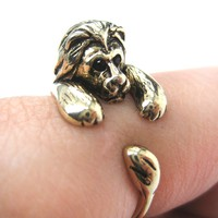 Realistic Lion Animal Wrap Around Ring in Shiny Gold - Sizes 4 to 9 Available