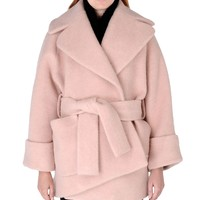 Carven Oversized Cocoon Coat - Light Pink Wool-Blend Wrap Coat