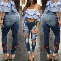 Stylish Women clothes casual Ladies Stretch Hole Ripped Slim Button High Waist pocket summer Skinny Denim Jeans one pieces