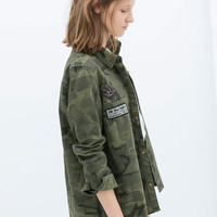 Green Camouflage Embroidered Single-Breasted Shirts
