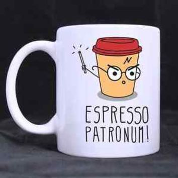 Espresso Patronum Harry Potter Funny Cartoon Mug Cup Two Sides 11 Oz Ceramics