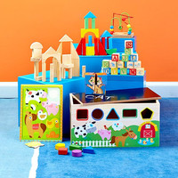 Toddler Child Learning Activity Center Wood Trunk 9 Activities Development Toy