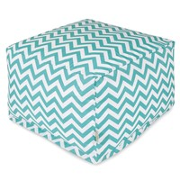 Teal Chevron Large Ottoman