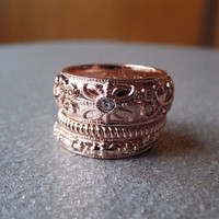 Rose Gold and Crystal Stackable Ring Set of 3