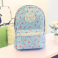 Backpack with Flora Print and Lace