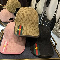 GUCCI 2020 new embroidered bee ribbon men's and women's baseball caps