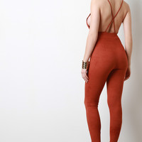 Backless Vegan Suede Jumpsuit