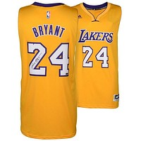 Autographed Los Angeles Lakers Kobe Bryant Panini Authentic Adidas Swingman Yellow Jersey - Panini