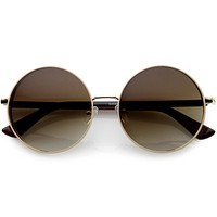 Luxe Posh Two-Tone Metal Side Cover Cut Out Round Sunglasses D055